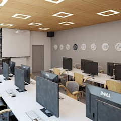 Sala dydaktyczna z betonem: styl , w kategorii Pokój multimedialny zaprojektowany przez Ale design Grzegorz Grzywacz