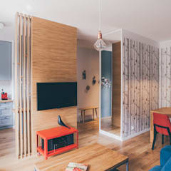 projekt aranżacji apartamentu w Gdyni Nowoczesny salon od em2 Nowoczesny