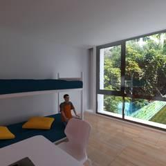 Ampliacion casa fin de semana: Dormitorios infantiles de estilo moderno por VHA Arquitectura