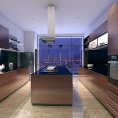 HYDE PARK TOWER,  BIBBEWADI, PUNE:  Kitchen by Chaney Architects