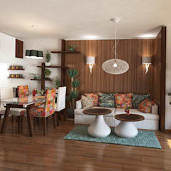 Country style Interior for an appartment kitchen and living room:  Living room by Inspiria Interiors