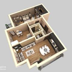 Contemporary Interior for an apartment, Sofia:  Living room by Inspiria Interiors