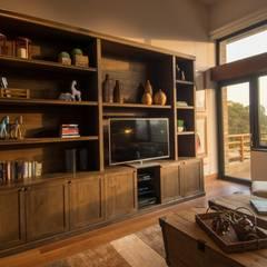 Sala familiar: Salas de estilo rústico por DLPS Arquitectos