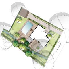 Plan masse des aménagements : Jardin de style  par Atelier Aralia