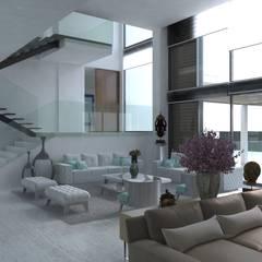 Reforma Vivienda - Primera linea de mar: Salas de estilo  por Area5 arquitectura SAS, Moderno