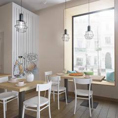 Sala konsumpcyjna z witryną : styl , w kategorii Gastronomia zaprojektowany przez ZAWICKA-ID Projektowanie wnętrz