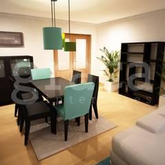 Projecto de Decoração com Mobiliário Escuro: Salas de jantar  por Andreia Louraço - Designer de Interiores (Contacto: atelier.andreialouraco@gmail.com)