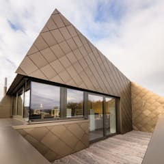 Dachaufstockung für ein Architekturbüro:  Terrasse von Helwig Haus und Raum Planungs GmbH