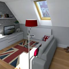 Un studio sous les toits: Salon de style  par MJ Intérieurs