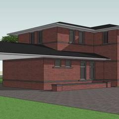 Zijaanzicht landelijke villa Frank Lloyd Wright Priariehuis stijl :  Huizen door Villa Delphia