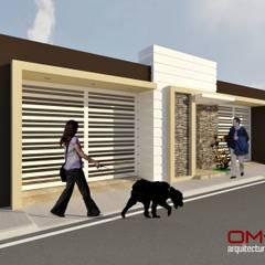 Diseño de fachada de vivienda pareada: Casas de estilo  por om-a arquitectura y diseño