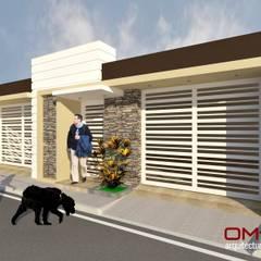 Diseño de fachada de vivienda pareada: Casas de estilo  por om-a arquitectura y diseño,