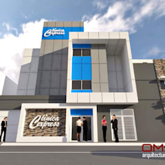Diseño de fachada para Clínica Express: Casas de estilo  por om-a arquitectura y diseño
