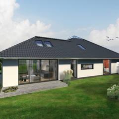 K-MÄLEON Hybridhaus // Winkelbungalow K-MÄLEON Haus GmbH Moderne Häuser Stahlbeton Weiß