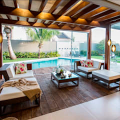 Tropical style balcony, porch & terrace by Arquitetura Ao Cubo LTDA Tropical