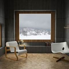 Vue du séjour 1: Murs de style  par Belle Ville Atelier d'Architecture