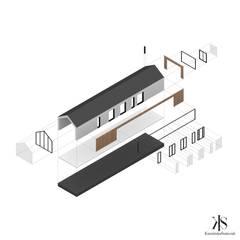 Biuro pod Krakowem - aksonometria: styl , w kategorii Przestrzenie biurowe i magazynowe zaprojektowany przez Kamińska Stańczak