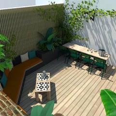 Un patio urbain luxuriant: Terrasse de style  par Laura Benitta Architecture d'intérieur et création de jardins