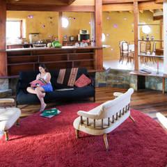 Diseño y Construcción de Casa Caracol en Paine por ALIWEN: Livings de estilo  por ALIWEN arquitectura & construcción sustentable - Santiago, Rústico