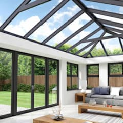 Claasical aluminium stack doors and skylights:  Skylights by Tech Glass and Aluminium