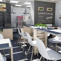 Wnętrze makaroniarni: styl , w kategorii Gastronomia zaprojektowany przez easy project,