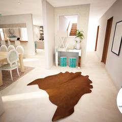 Projecto - Salas, Balcão e Entrada: Corredores e halls de entrada  por Andreia Louraço - Designer de Interiores (Contacto: atelier.andreialouraco@gmail.com)