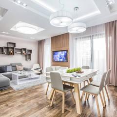 Mieszkanie w Warszawie Minimalistyczna jadalnia od PUHALSKA DESIGN Minimalistyczny