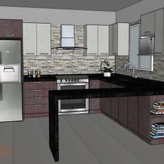 Cocina en Villas La Joya: Cocinas de estilo  por H-abitat Diseño & Interiores , Moderno Piedra