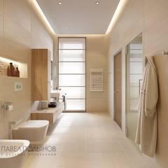 Интерьер дома в современном стиле, коттеджный поселок «Небо», 272 кв.м.: Ванные комнаты в . Автор – Студия Павла Полынова