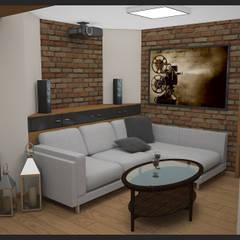 Winiarnia z projektorem wersja 1: styl , w kategorii Pokój multimedialny zaprojektowany przez Biuro projektowe Cztery Ściany Martyna Bejtka