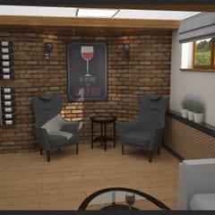 Winiarnia z projektorem wersja 1: styl , w kategorii Piwnica win zaprojektowany przez Biuro projektowe Cztery Ściany Martyna Bejtka