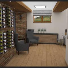 Winiarnia z projektorem wersja 1: styl , w kategorii Piwnica win zaprojektowany przez Biuro projektowe Cztery Ściany Martyna Bejtka,