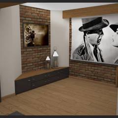 Winiarnia z projektorem wersja 2: styl , w kategorii Pokój multimedialny zaprojektowany przez Biuro projektowe Cztery Ściany Martyna Bejtka
