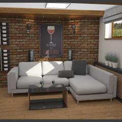 Winiarnia z projektorem wersja 2: styl , w kategorii Piwnica win zaprojektowany przez Biuro projektowe Cztery Ściany Martyna Bejtka,