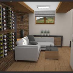 Winiarnia z projektorem wersja 2: styl , w kategorii Piwnica win zaprojektowany przez Biuro projektowe Cztery Ściany Martyna Bejtka