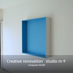 レクタングルBOX: studio m+ by masato fujiiが手掛けた壁です。