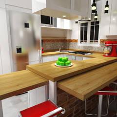 Diseño Sala-Cocina/Comedor : Cocinas de estilo  por Rbritointeriorismo,