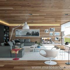 House by River side: Salas de estar  por Matos Architects,Moderno Madeira maciça Multicolor