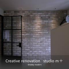 タイル壁 ブリックタイル: studio m+ by masato fujiiが手掛けた壁です。