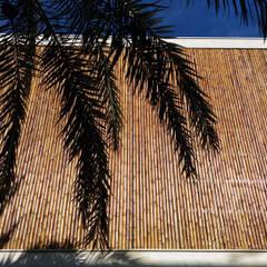 Revestimento de réguas de bambu em esquadria metálica: Casas minimalistas por BAMBU CARBONO ZERO