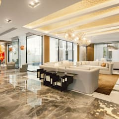 24000 sqft (2230 sqm) double Villa in Dubai:  Living room by Aum Architects