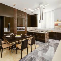 24000 sqft (2230 sqm) double Villa in Dubai:  Kitchen by Aum Architects