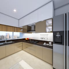 22 Floors Residential Building:  Kitchen by Aum Architects
