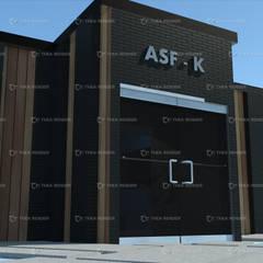 """Fachada ASF - K  """"Centro de Negocios"""" : Salones de conferencias de estilo  por HC Arquitecto"""