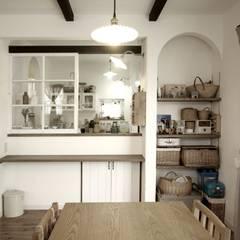 カフェスタイルなキッチンのある家: ジャストの家が手掛けたキッチンです。