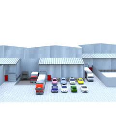 Parque industrial La Dolores -Valle del Cauca- Colombia: Garajes de estilo  por Crearquitech S.A.S