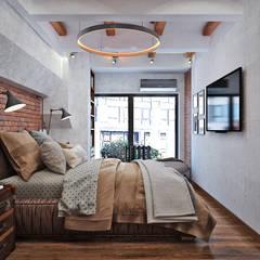 Винтаж, натуральный кирпич, индустриал: отличное сочетание в спальне: Спальни в . Автор – Студия дизайна Interior Design IDEAS