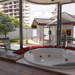 Área Externa: Spas ecléticos por Jacqueline Fumagalli Arquitetura & Design