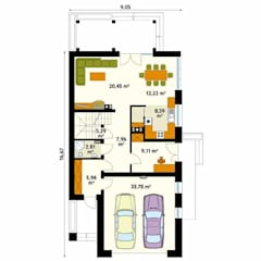 Rzut parteru projektu domu Amarylis 3: styl , w kategorii Ściany zaprojektowany przez Biuro Projektów MTM Styl - domywstylu.pl