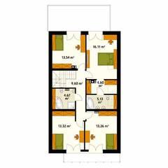 Rzut poddasza projektu domu Amarylis 3: styl , w kategorii Ściany zaprojektowany przez Biuro Projektów MTM Styl - domywstylu.pl